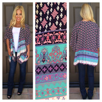 Sweet Confection Printed Kimono - NAVY & PINK