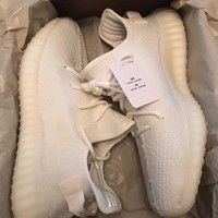 Come With Box Adidas YEEZY BOOST 350 V2 IN HAND Cream All White CP9366 Size 11.5 RECEIPT DS