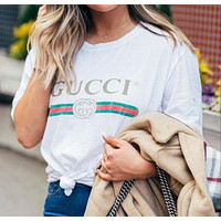 GG Hot Letters Print T-shirt Top Tee Loose Blouse