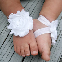 Baby Barefoot Sandals..White Flower..Toddler Sandals..Newborn Sandals