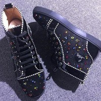 DCCK2 Cl Christian Louboutin Rhinestone Style #1964 Sneakers Fashion Shoes