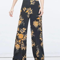 Black Floral Orange Print Wide Leg Pants