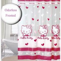 Cartoon 180*180 CM Hello Kitty Cartoon Waterproof PEVA Shower Curtain For The Bathroom With 12 Pcs Plastic Hook