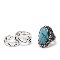 With Love From CA Multi Stone Ring Pack - Womens Jewelry - Silver