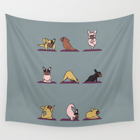 Frenchie Yoga Wall Tapestry by Huebucket
