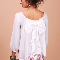 Bow Flutter Blouse - Chiffon Blouses at Pinkice.com
