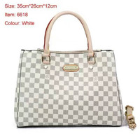 LV Women Shopping Leather Tote Handbag Shoulder Bag White