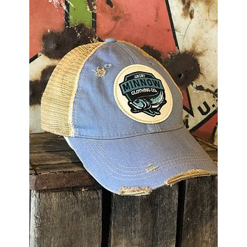Angry Minnow Vintage Blue Logo Hat- Sky Blue