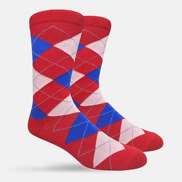 Argyle Pattern Red Blue Casual Socks