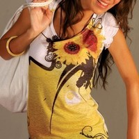 yellow sunflower t shirt sunshine beautiful colorful unique Spring fashion one side printed
