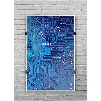 Blue Cirtcuit Board V1 - Ultra Rich Poster Print