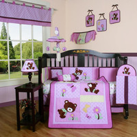 Girls Baby Bedding 13-Piece Crib Bedding Sets with Bumper Included Baby Bundle,Teddy Bears