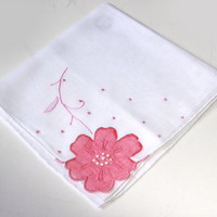 Vintage Handkerchief with Pink Flower Applique - Unusual - Wedding Present - Country - Gift for Her