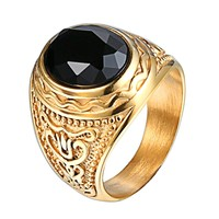 Mens Ring Black Dome Solitaire Stone Stainless Steel