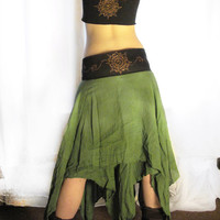 Maxi long wrap skirt. Mandala pixie long skirt, earthy skirt, warrior skirt, festival skirt, tied dye skirt. elven clothing, tribal