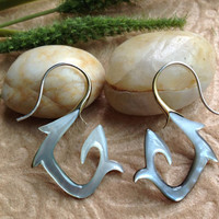 """Tribal Hanging Earrings, """"Black Swirls"""" Naturally Organic, Black Mother of Pearl, Hand Carved"""