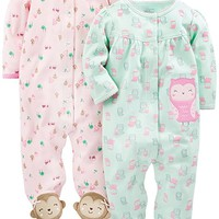 Baby Girls' 2-Pack Cotton Footed Sleep-and-Play
