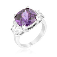 Purple Triplet Ring, size : 07