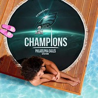 Philadelphia Eagles Champs Round Beach Blanket | Picnic Blanket