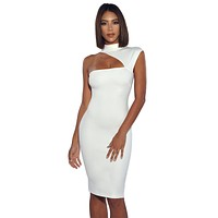 Jolene Asymmetric Neck Cutout Detail Stretch Crepe Dress