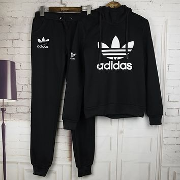 Adidas:winter new printing leisure sweater hooded zipper suit