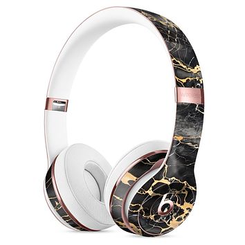 Black and Gold Marble Surface Full-Body Skin Kit for the Beats by Dre Solo 3 Wireless Headphones