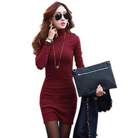 Women Mini Sexy Dress Turtle Neck Korean Clothes Red Black Slim Dresses Bodycon Casual Cotton Knitted Winter Dress Plus Size XXL