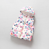 butterfly floral print baby girls vest 2017 winter thick warm hooded children waistcoat with fleece outerwear kids clothes