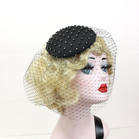 Black Cocktail Hat - Birdcage Veil with Austrian Crystals - Prom Hair Accessory -  Art Deco Headpiece -  Halloween Costume