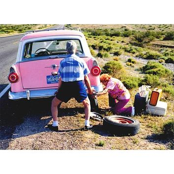 Anniversary Greeting Card  - Old Couple Changing Tire