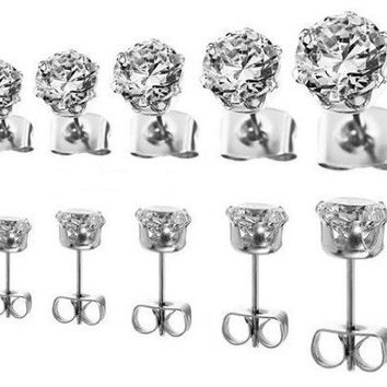 S-01 Classic 5 Pair Sparkling 316L Stainless Steel 3mm 4mm 5mm 6mm & 7mm Clear Round Cubic Zirconia CZ Stud Earring Set. W/ Free Gift Box