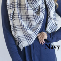 Oversized Blanket Scarf - Navy
