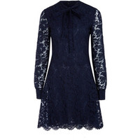 Valentino Navy Pussy-Bow Fit and Flare Lace Dress