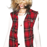 Tripp NYC Stud Out Vest Red Plaid