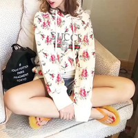 """""""Gucci"""" Women Casual Flower Letter Print Hooded Long Sleeve Pullover Sweater Tops"""