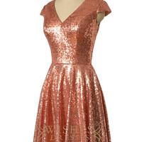 2016 A-line Rose Gold Sequins Bridesmaid Dress /Cap Sleeves Mother Gown AM509