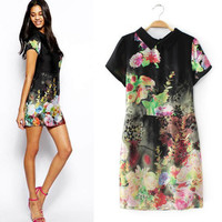 Black Floral Print Short-Sleeve Zipper Back Collared Dress