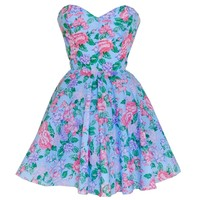 Blue Floral Vintage Inspired Prom Dress   Style Icon`s Closet