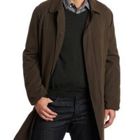 London Fog Men's Durham Single Breasted Fly Front Balmacan Raincoat