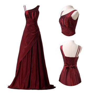 Burgundy Strappy Ruched Wrap  Bow Knot Maxi Evening Dress