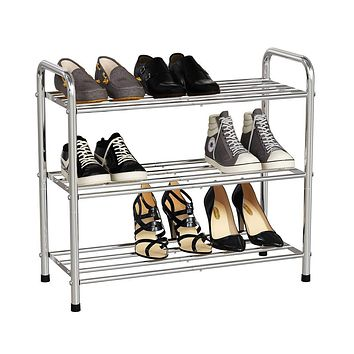 "V.C.Formark 3 Tier Shoe Rack, Stainless Steel Shoe Racks for Closets, 9-12 Pairs Shoes Rack Organizer, Boot and Sneaker Shelves for Entryway, 24""W x 10.2""D x 21.6""H(Silver)"