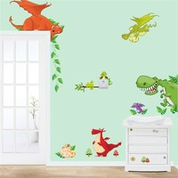 dinosaur wall art home decorations animal stickers kids room cartoon pegatinas adesivo parede children wall decals zooyoocd002