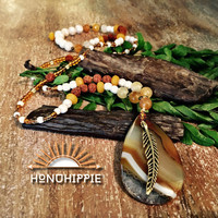 Spring festival feather necklace, boho hippie jewelry