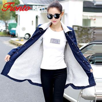 New Autumn Winter Denim Jacket Lambswool Basic Coat For Women Long Sleeve Warm Fleece Casual Single Breasted Bomber Jacket A6150