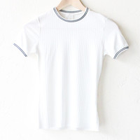 Contrast Ringer Top - White