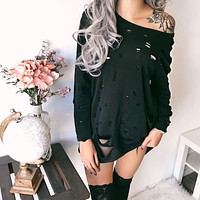 Demi Distressed Oversized Sweaters (BLACK)
