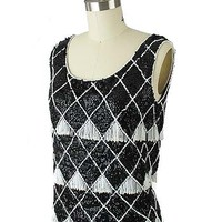 60's Black Sequined White Beaded Fringe Knit Tank Top