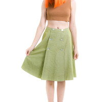 Vintage 60's Sage Green Double Button Pleated Skirt - S/M