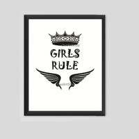 Girls rule printable, Children wallart, nursery room, kids room decor, wall art decor, digital print, Black and white instant download