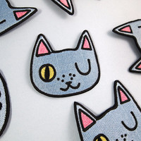 Winking cat patch - Iron on patch - sew on patch - cat patch - cat iron on patch - I like cats - blue cat - cat accessories - cat - cat gift